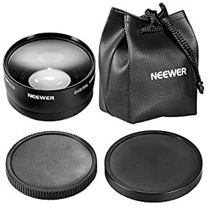 Neewer 58mm 0.45x Wide Angle Lens with Macro for Canon Digital EOS Rebel T1i, T2i, T3, T3i, T4i, T5i, SL1, EOS 60D, EOS 70D, 50D, 40D, 30D, EOS 5D, EOS 1D, EOS 5D Mark 2, EOS D Digital SLR Cameras Which Has Any Of These (18-55mm, 55-250mm, 100-300mm, 18-250mm, 70-300mm, 75-300mm, 50mm 1.4 , 55-200mm. 24mm) Canon Lenses (Lens Bag included)