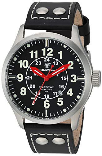 Smith and Wesson SWW-GRH-1 Mumbai Lamplighter Swiss Tritium Watch 10ATM with Leather Strap, Black (Smith And Wesson Night Guard 357 Review)