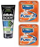 Gillette Body Non Foaming Shave Gel for Men, 5.9 Fl Oz + Fusion Refill Blades 8 Ct (2 Pack) + FREE Luxury Luffa Loofah Bath Sponge On A Rope, Color May Vary