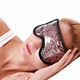 Ice Pack Gel Eye Mask for Puffy or Swollen Eyes, Migraine, Relaxation, Reusable Soothing Cooling Mask with Elastic Band and Super Soft Plush for Hot Cold Therapies and Eye Treatment (Rosegold)