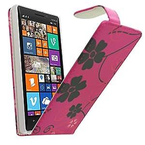 Samrick Especialmente Diseñado Florales Maletín Abatible De Cuero Con Protector De Pantalla & Paño De Microfibra & Negro Mini Lápiz Capacitivo Alta Para Nokia Lumia 930 - Rosa Negro (Pink Black)