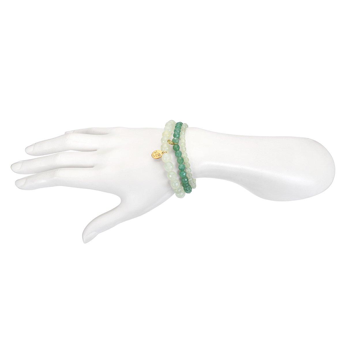 Satya Jewelry Womens New Jade Gold Om Stretch Bracelet Set, Green, One Size by Satya Jewelry (Image #2)