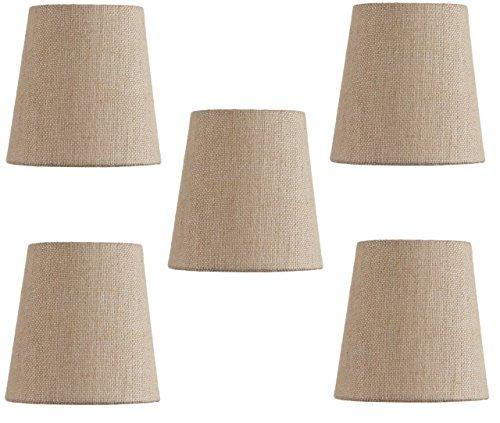 Upgradelights Beige Linen 4 Inch Mini Clip On Chandelier Lamp Shade (Set of 5) 2.5x4x4 (Linen Mini Lampshades)