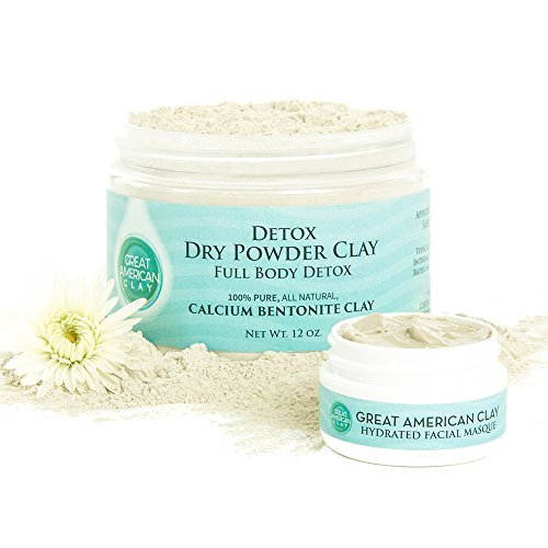 Calcium Bentonite Clay Detox Cleanse - Detox Powder for Weight Loss, Liver & Colon - Food Grade safe for daily internal use or a Healing Clay Face Mask 12 oz - by Great American Clay