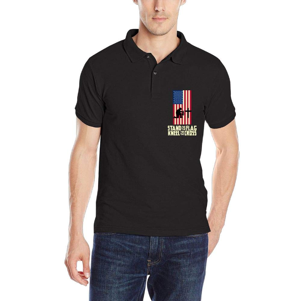 Stand for The American Flag Kneel for The Cross Mens Short Sleeve Polo Shirt Regular Blouse Sport Tee
