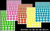 neon chart paper - P44, Circle-3 label, 5 size (∅ 15-20-25-30-35 mm.), pastel color paper, A4 (8.27