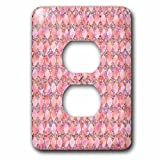 3dRose Uta Naumann Faux Glitter Pattern - Luxury Fresh Gold and Pink Moroccan Arabic Quatrefoil Tile Pattern - Light Switch Covers - 2 plug outlet cover (lsp_266877_6)
