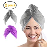 YoulerTex Microfiber Hair Towel Wrap for Women, 2 Pack 10 inch X 26 inch, Super Absorbent Quick Dry Hair Turban For Drying Curly, Long, Thick Hair(Purple+Gray) ...