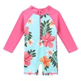 HUANQIUE Baby/Toddler Girl Swimsuit Long Sleeve One-Piece Swimwear Rashguard Aqua 3-4 T