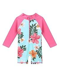 HUANQIUE Baby/Toddler Girl Swimsuit Long Sleeve One-Piece Swimwear Rashguard