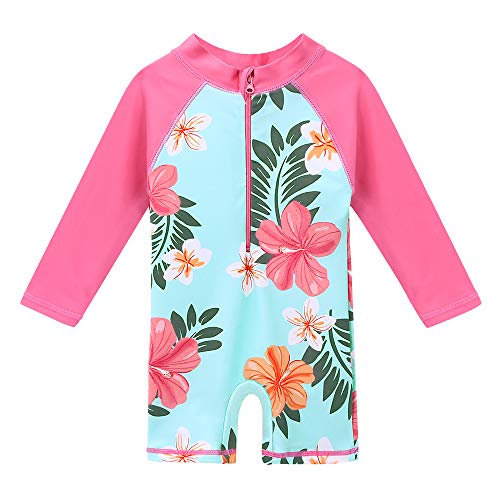 HUANQIUE Baby/Toddler Girl Swimsuit Long Sleeve One-Piece Swimwear Rashguard Aqua 1-2 T