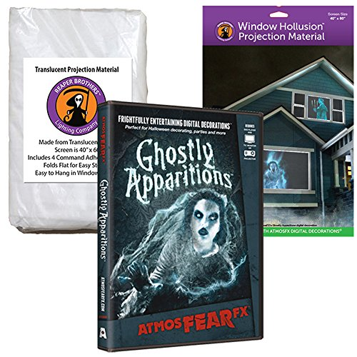 (AtmosFEARfx Ghostly Apparitions Halloween Digital Decoration DVD with Hollusion (W) + Reaper Bros Window Projection)