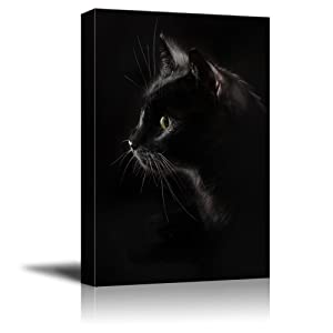 wall26 Canvas Wall Art - Black Cat with Dark Background - Giclee Print Gallery Wrap Modern Home Decor Ready to Hang - 16x24 inches