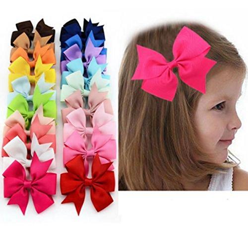 20Pcs Hair Bows Band Boutique Alligator Clip Grosgrain Ribbon Girl Baby Kids J*