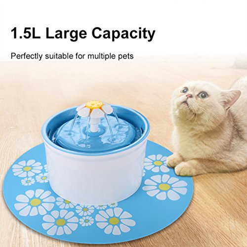 Pet Fountain Cat Dog Water Dispenser- Healthy and Hygienic Super Quiet Automatic Electric Water Bowl, Drinking Fountain for Dogs, Cats, Birds and Small Animals (1.5L, Blue) by Petacc (Image #5)