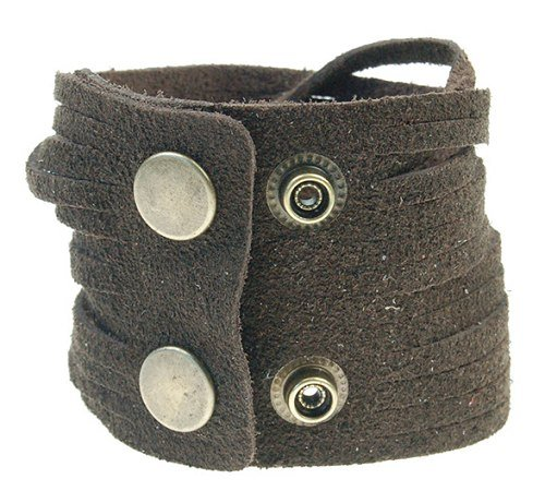 Mens Genuine Leather and Soft Suede Surfer Wristband Cuff Bracelet with Adjustable Stud Snaps - Brown, Janeo Jewellery