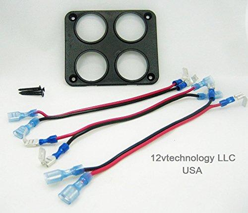 Quad Socket USB 12V Power Plug Panel Mounting Plate w/ Daisy Jumpers #3ycn/fplt/4sq (Quad Plates Plugs)