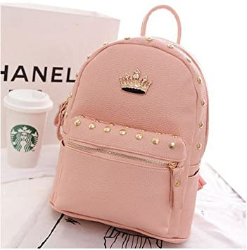 a9ab748cc935 Fashion Retro Girl Elegant Lady Crown Ornament Rivet PU Leather Backpack  Hot Rivet Travel Rucksack Funky ...