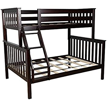 max u0026 lily solid wood twin over full bunk bed espresso