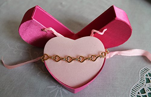 Avon Rhinestone Open Heart Bracelet w/ Keepsake Box - Gold Tone