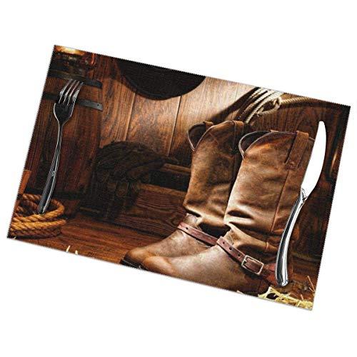 Beryl Shop Manteles Individuales Resistentes al Calor Wild West para Mesa de Comedor, tapetes de Mesa Lavables y faciles de Limp