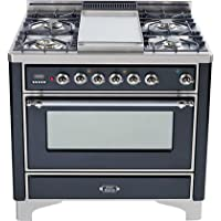 36 - 5 Burner Dual Fuel Range + Griddle with Convection Oven Finish: Matte Graphite