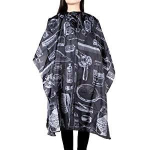 """HOOMBOOM Haircuting Cape, Professional Hair Salon Nylon Barber Cape with Snap Closure for Hairstylists, Hairdressers and Barbers - 50"""" x 60"""" Black by HOOMBOOM"""