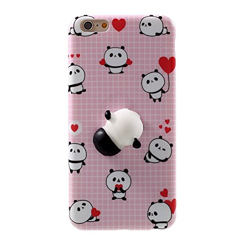 Squishy Cat Case for iphone 4/4S,Polar Bear Sleepy Cat Chicken Finger Pinch 3D Silicone Relax Poke Squishy Toys Kawaii Animals TPU Case for Apple iphone 4/4S(Panda Pink)
