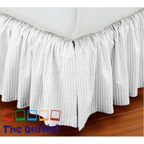 TheOutNet Collection Egyptian Cotton 750TC 1 Piece Dust Ruffle Bed Skirt Full-XL Size 8'' Inch Drop Length White Striped