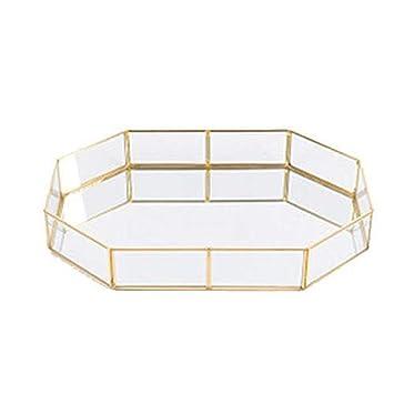 Bandejas de almacenamiento de cristal dorado, organizador de maquillaje, para artículos de sol,