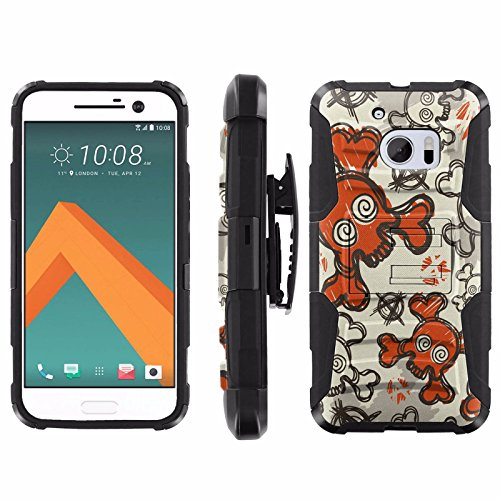 [ArmorXtreme] Case for HTC One M10 / HTC 10 Black/Black [Combat Armor Heavy Duty Case with Holster] - [Cool Skull]