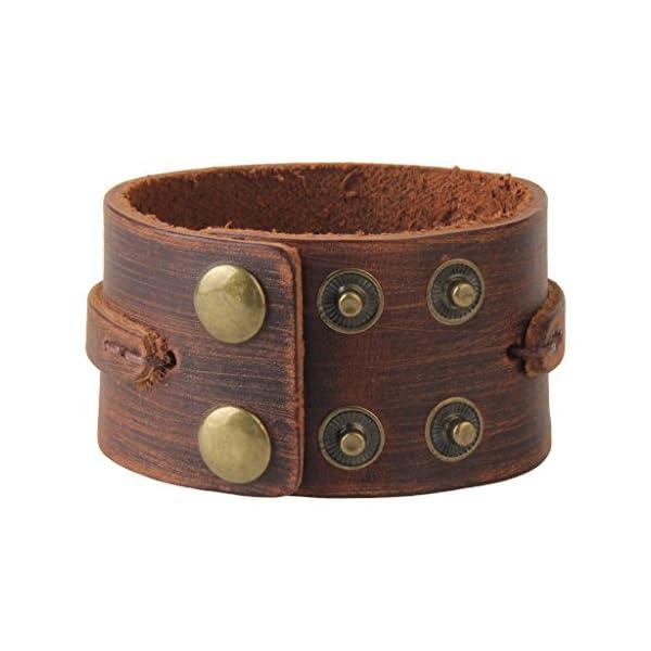 Jenia-Adjustable-Genuine-Leather-Bracelet-Wide-Brown-Belt-Cuff-Bangle-Handmade-Jewelry-for-Men-Boy-Kids-Women