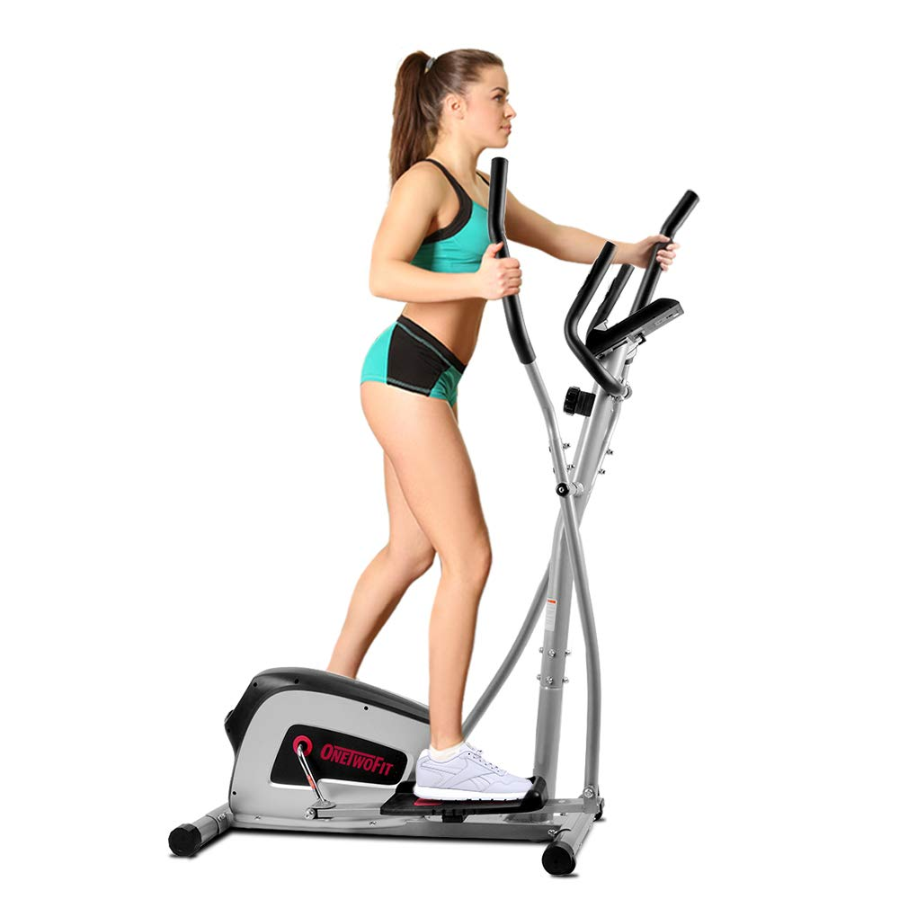 ONETWOFIT Home Elliptical Cross Trainer, 8-Level Magnetic Resistance,13-inch Stride Length, 12-lbs Two Way Flywheel, Monitor with Heart Rate Sensor and Tablet Holder OT111