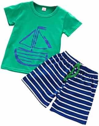 5a158d6b76 Winsummer 1Set Summer Casual Children Kid Cartoon T-Shirt+Beach Shorts  Pants Toddler Baby