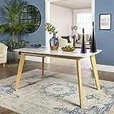 "WE Furniture 60"" Retro Modern Dining Table - White/Natural"
