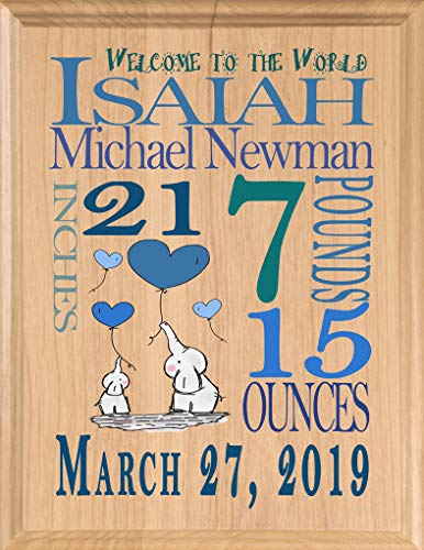 (Personalized New Baby Boy Gift Sign Announcement Nursery Décor Art for Newborn Boys New Parents Mom or Dad New Grandson or Nephew)
