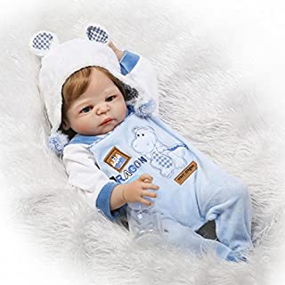 Full Silicone Body Reborn Baby Doll Boy Light Blue Outfit with Hippo Pattern 22 inches