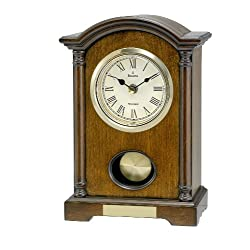 Bulova Dalton Chiming Pendulum Table Clock - Walnut Finish - Gold-Tone Accents