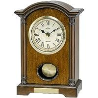 Bulova Dalton Chiming Pendulum Table Clock - Walnut Finish - Gold-Tone Accents