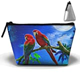 Womens Makeup Bag Portable Travel Cosmetic Pouch Storage Parrots Couple Night Full Moon Fashion Zipper Trapezoid Purse