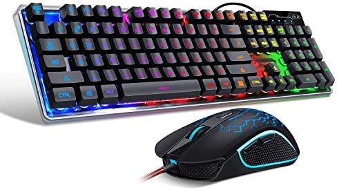 Gaming Keyboard and Mouse Combo, K1 LED Rainbow Backlit Keyboard with 104 Key Computer PC Gaming Keyboard for PC/Laptop