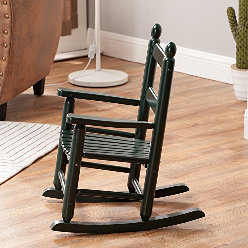 Children Rocking Chairs Kids Wooden Porch Child's Rocker Wood Non-Toxic Paint KD-20BG, Blackish Green Indoor Outdoor Ages 4-8