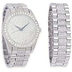Iced Out Silver Watch with Diamond Face & Matching Bling Bling-ed Out Bracelet Gift Set