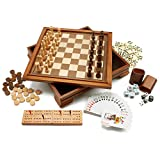 Wooden 7-in-1 Chess, Checkers, Backgammon, Playing Cards, Poker Dices, Dominoes and Cribbage Board Game Combo Set