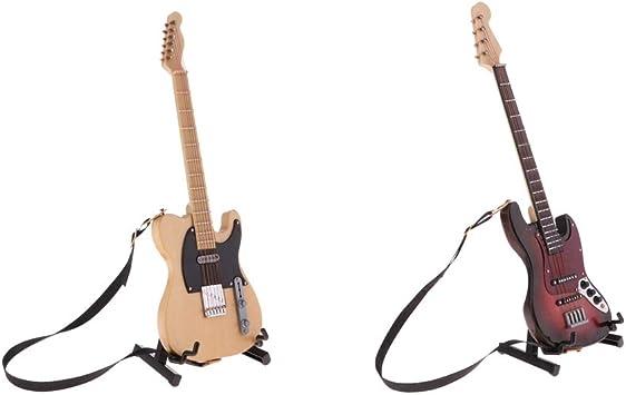 Toygogo 2 Piezas 1/6 Escala Casa De Muñecas Guitarra Modelo ...