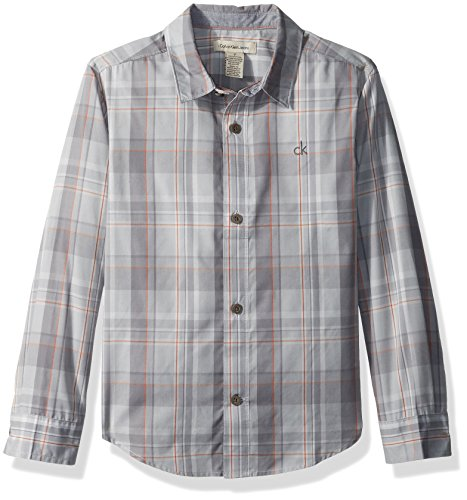 Plaid Logo Shirt - Calvin Klein Big Boys' Dusk Plaid Long Sleeve Shirt With Chest Logo, Grey, Medium (10/12)