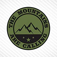 The Mountains Are Calling Vinyl Decal Bumper Sticker - Olive Green & Black, Outdoor Camping Hiking Rock Climbing Off Road Car SUV Truck Decal Fits Jeep