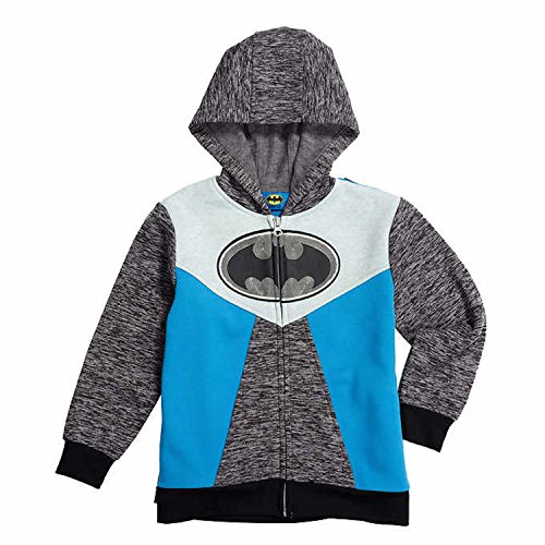Sweatshirt Lined Dc (Marvel & DC Comics Boys Zip Up Fleece Hoodie Jacket (3T, Batman))