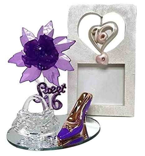 Purple Sweet 16 Motive Purple Acrylic Flower with High Heel Shoe Favor and Purse Gift Keepsake 5 ct with Picture Frame