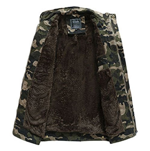 Plush Coat Outwear Warm Lining Camouflage Jacket Parka Winter Military Men's Warm Thick Cotton Khaki qvwYzP